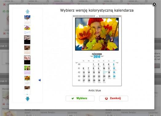 Edytor fotokalendarzy krok3 wersja kolorystyczna wybór