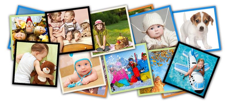 Kwadratowe zdjęcia z kolorowymi ramkami w Alboom.pl